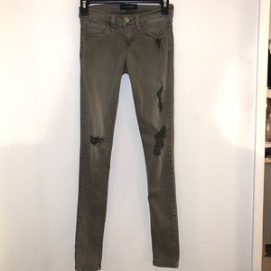 Olive Green Flying Monkey Size 24 Ripped Jeans